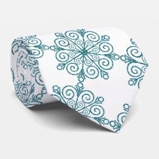 Gravata Laço azul Glittery do inverno do floco de neve