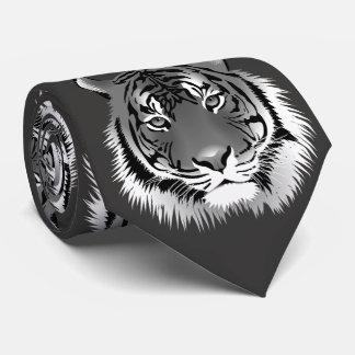 Gravata Laço de prata do pescoço com tigre Preto-Branco
