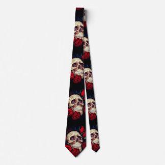 Gravata laço dos homens do crânio e das rosas vermelhas