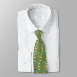 Gravata Laço dourado verde do sinal de dólar