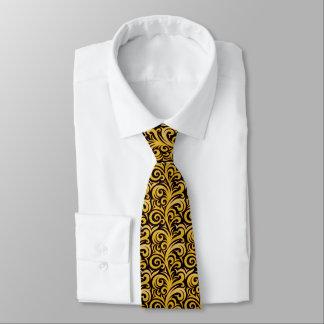 Gravata Laço elegante do teste padrão do Verdure do ouro