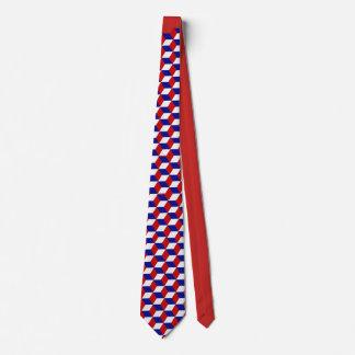 Gravata Laço - ilusão do bloco em vermelho, branco, azul