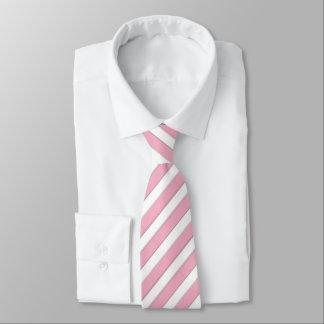 Gravata Laço listrado cor-de-rosa & branco incorporado