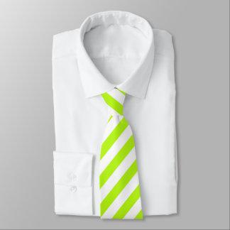 Gravata Laço listrado do verde limão/o branco