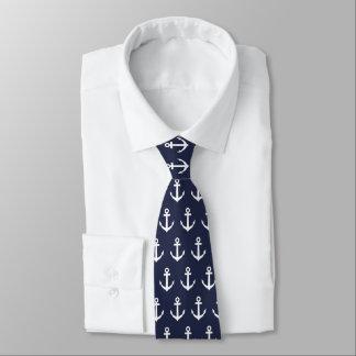 Gravata Laço náutico do azul marinho & o branco da âncora