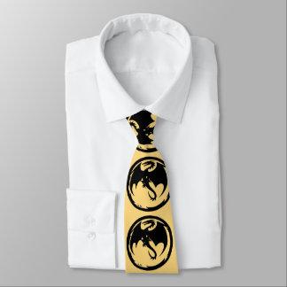 Gravata Laço preto do negócio do ouro do dragão (2-sided)