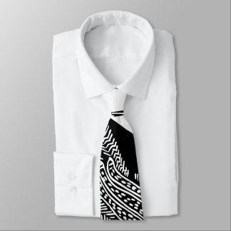Gravata Laço preto e branco do teste padrão abstrato Funky