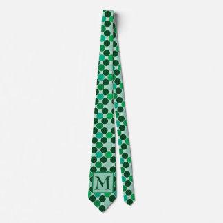 Gravata Laço verde das bolinhas do monograma