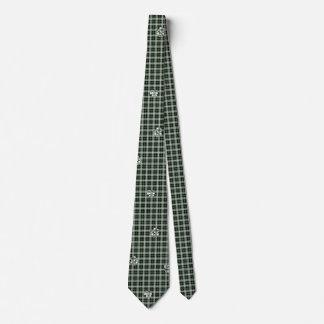 Gravata Laço verde do impressão da pata da xadrez