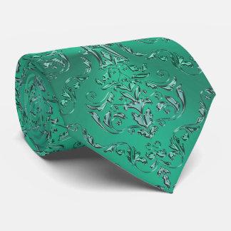 Gravata Laço verde metálico do damasco dos peixes do sinal