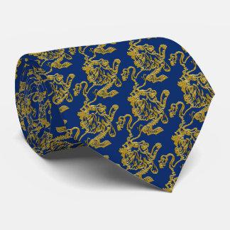 Gravata Leão do ouro em azuis marinhos