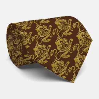 Gravata Leão do ouro em castanho chocolate