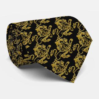 Gravata Leão do ouro no preto