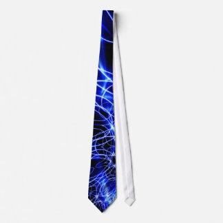 Gravata Linhas azuis da energia, flash do azul da fantasia