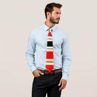 Gravata Listra branca vermelha do preto e do ouro