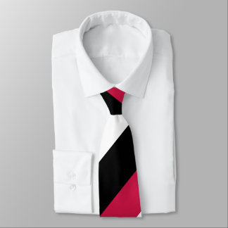 Gravata Listra regimental larga branca e preta vermelha