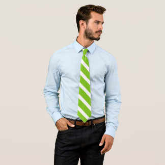 Gravata listras diagonais verdes/brancas