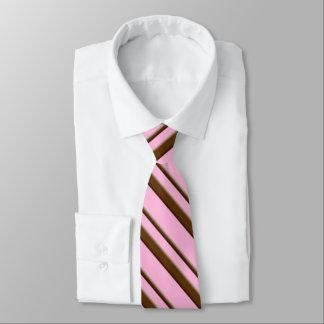 Gravata Listras do bastão de doces, cor-de-rosa e castanho