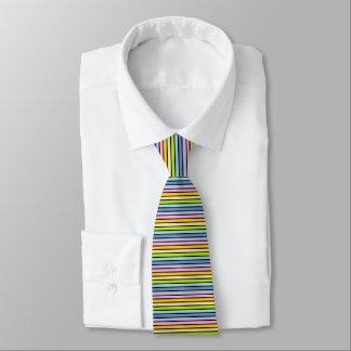 Gravata Listras Pastel esboçadas preto do arco-íris