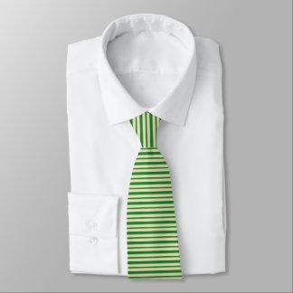 Gravata Listras verdes escuro e bege grossas e finas