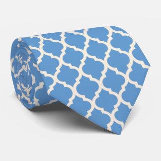Gravata Luz - azul e fora de Quatrefoil branco