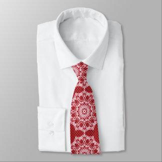 Gravata Mandala branca no teste padrão do vermelho do