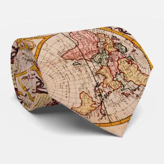 Gravata Mapa do vintage do mundo (1782) - estilizado