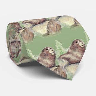 Gravata Marmota da aguarela, marmota, arte do animal de
