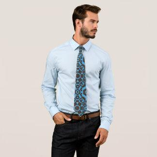 Gravata marrons e laço do impressão azul