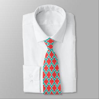 Gravata Marroquino branco Quatrefoil #4DS da cerceta