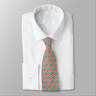 Gravata Marroquino branco Quatrefoil #5DS da cerceta coral