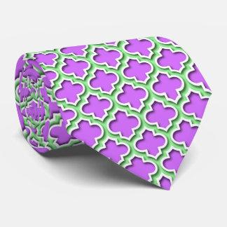 Gravata Marroquino branco Quatrefoil #5DS do verde da