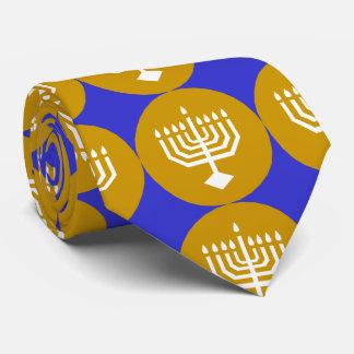 Gravata Menorah branco em círculos do ouro