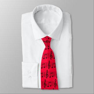 Gravata Notas musicais, vermelho e traje de cerimónia