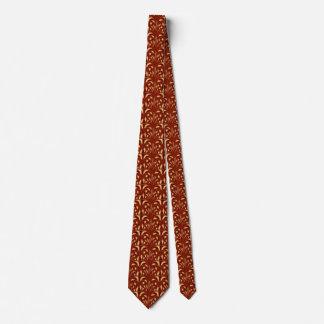 Gravata Nouveau - abstrato do cogumelo - vermelho & ouro