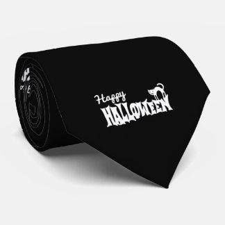 Gravata O Dia das Bruxas feliz preto e branco