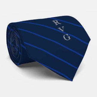 Gravata O marinho escuro listra as iniciais feitas sob