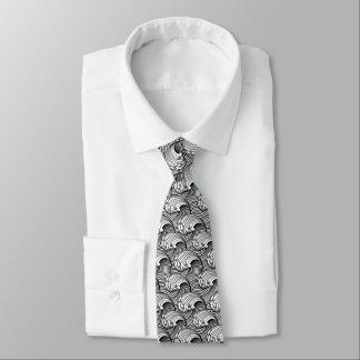Gravata Ondas japonesas do vintage, preto e branco