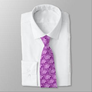 Gravata Ondas japonesas do vintage, roxo crepuscular e