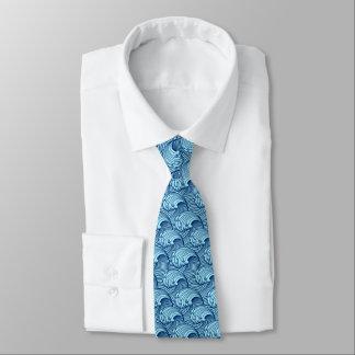 Gravata Ondas, marinho e azul-céu japoneses do vintage