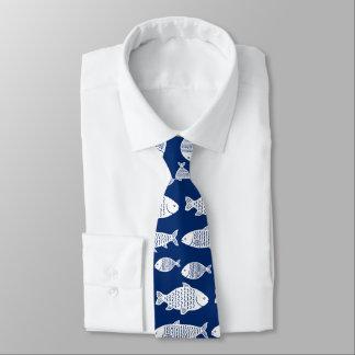 Gravata Os peixes modelam o branco e o azul