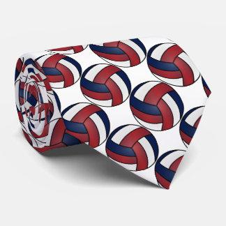 Gravata Ostente o branco, o voleibol vermelho e azul