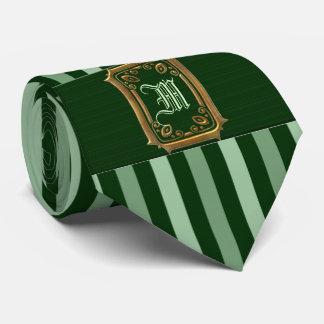 Gravata Ouro com monograma verde da curvatura das listras