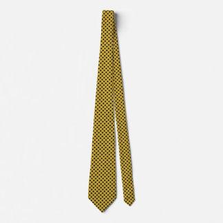 Gravata Ouro e o laço preto de homens de bolinhas