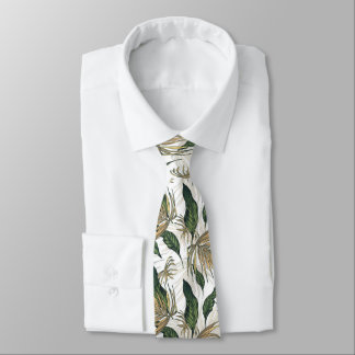 Gravata Ouro e teste padrão verde da folha
