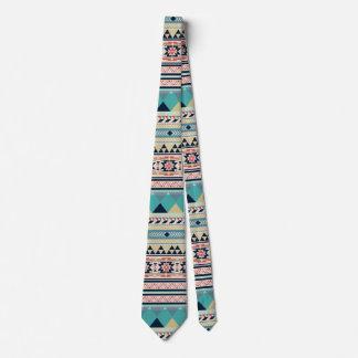 Gravata Ouro tribal de turquesa do rosa do teste padrão do