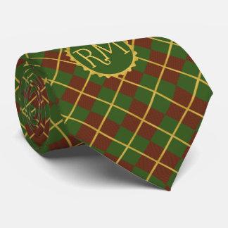 Gravata Ouro verde vermelho do tartan do Natal monogrammed