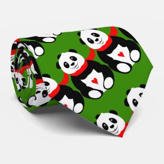 Gravata Pandas gigantes bonitos com chapéus de jogador e