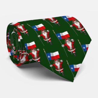 Gravata Papai Noel alegre com a bandeira de Texas
