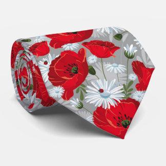 Gravata Papoila vermelha bonita, margaridas brancas e